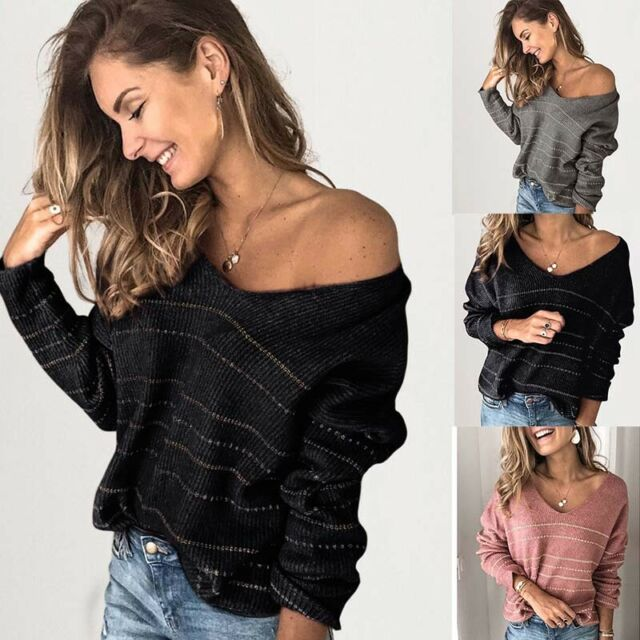 Knit Neck Pullover Long Sweater Tops Womens Black Blouse Jumper Sleeve Striped V