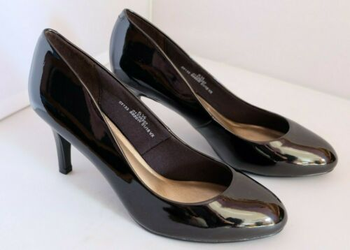 M/&S Collection Shoes Wider Fit Caramel Black Patent Stiletto Heel Court