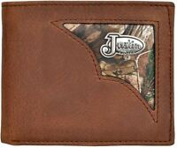 Mens Justin Brown Genuine Leather Camo Silver Concho Bifold Wallet Billfold