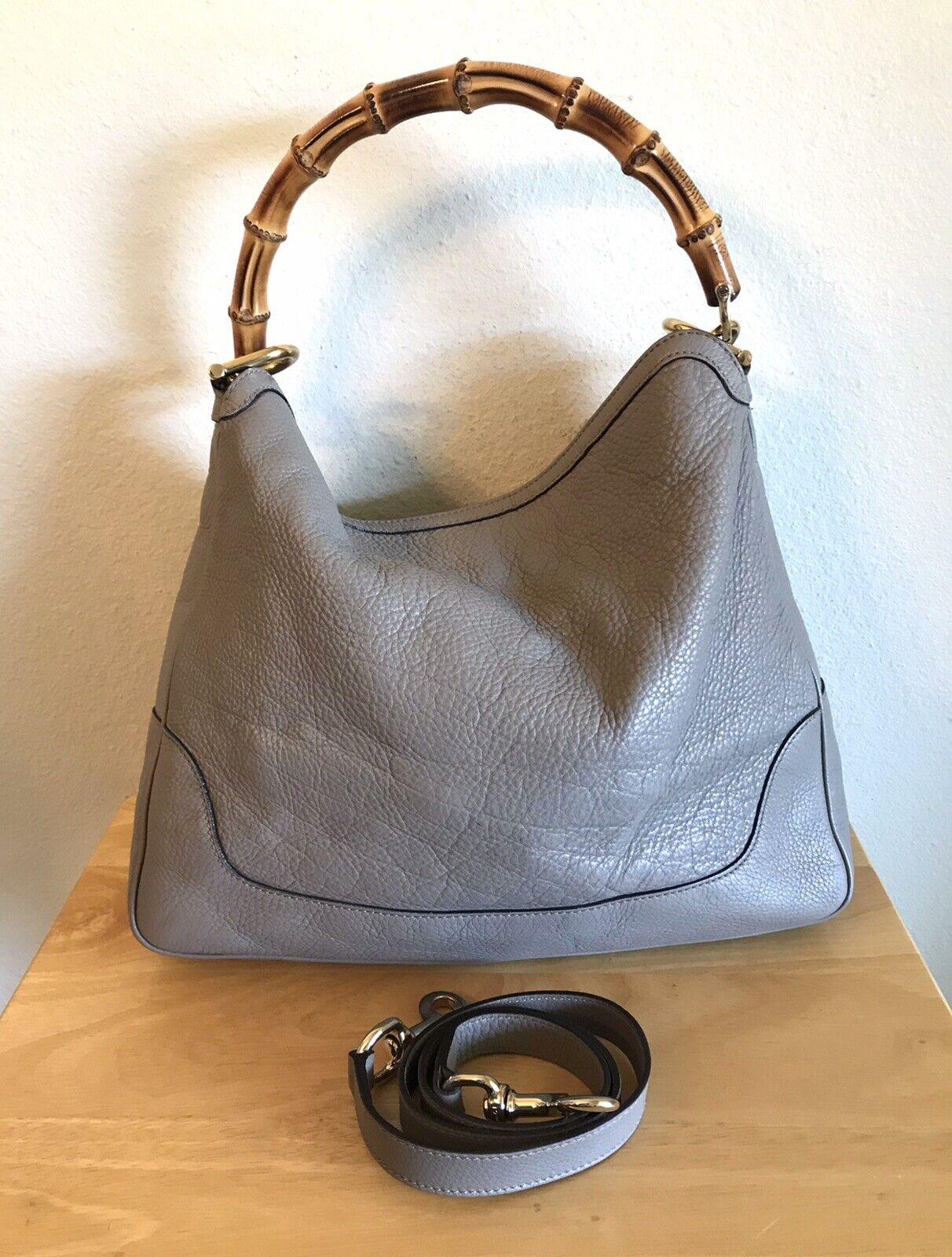 Gucci Taupe Gray Leather Diana Bamboo Handbag Med… - image 1