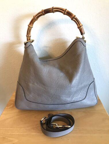 Gucci Taupe Gray Leather Diana Bamboo Handbag Medi