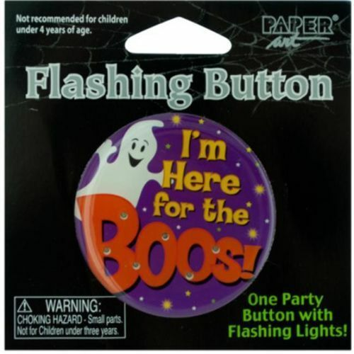 "(5) I'm Here For The Boos! Flashing Button Halloween Party button 2"" round pin"
