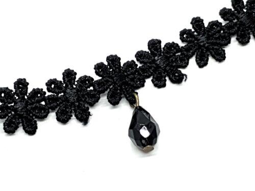 Gothic Black Daisy Lace Choker Collar Tattoo Celebrity Style UK Seller