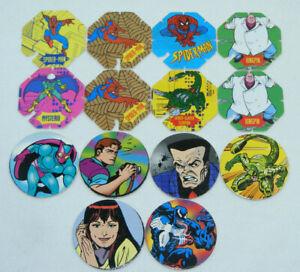 Lot de 14 BN TROC'S Volants & SM SPIDER-MAN 1994 1996 MARVEL COMICS Pogs/Caps...