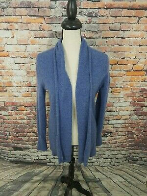 Tahari Pure Luxe Navy Open Front 100% CASHMERE Cardigan