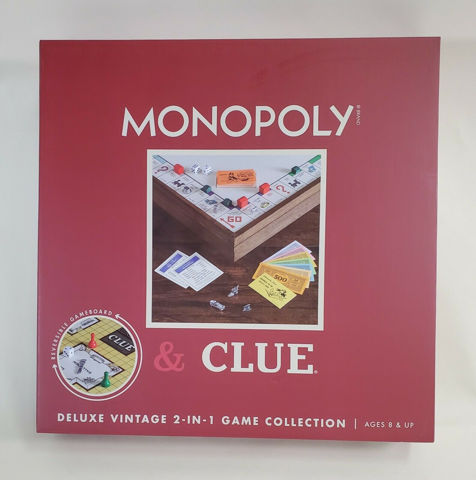 Monopoly and Clue 2 Games in 1 Deluxe Vintage Game Collection Set Wooden