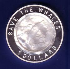 "Isole Pitcairn 5 DOLLARO ""megattera"" ARGENTO/Madreperla moneta, RARO!"