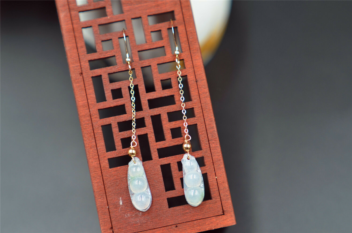 Natural icy jade bean earrings Burmese untreated grade A certificated 14k gold