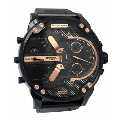 Diesel DZ7312 Mr Daddy 2.0 Chrono Black Date Rose Gold Dial Steel Men Watch NEW