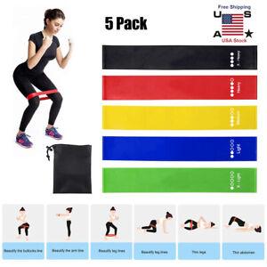 5Pcs Kit Resistance Bands Loop Set CrossFit Fitness Yoga Booty Leg Exercise Band