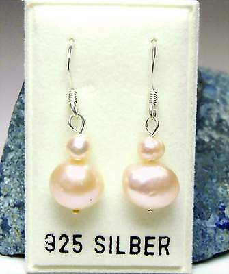 Nuovo Argento 925 Pendenti Con Acqua Dolce Allevamento Perle Color Pesca Orecchini Perle-mostra Il Titolo Originale