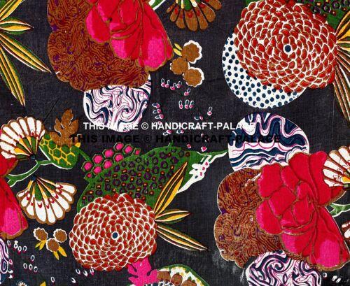 5 Yard Black Tropicana Printed Cotton Indian Natural Sanganeri Print Fabric