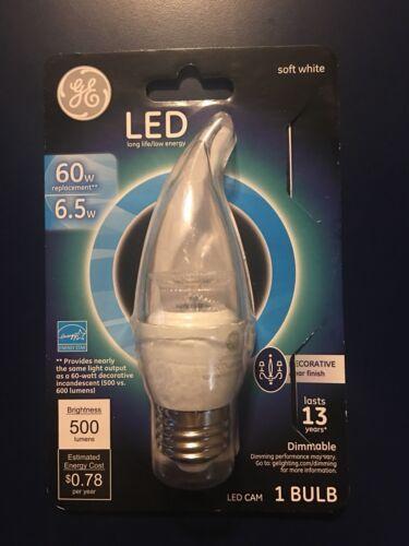 GE LED Soft White Clear Light Bulb 60watt For Chandeliers Standard Base