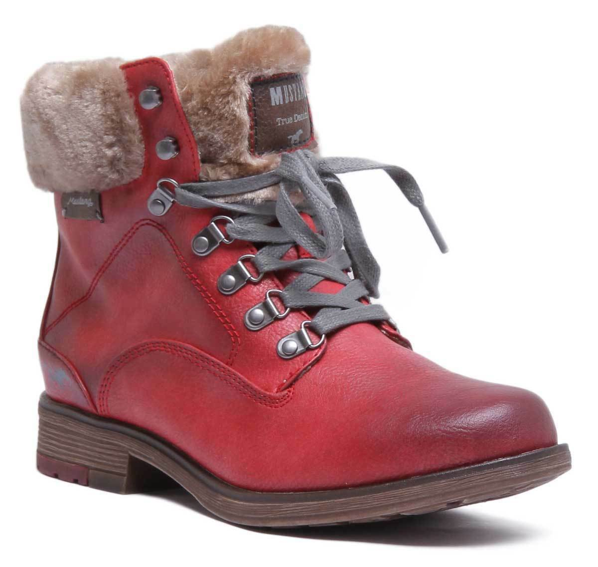 Mustang 1295 601 femmes rouge Synthetic Ankle bottes Taille UK 3 - 8