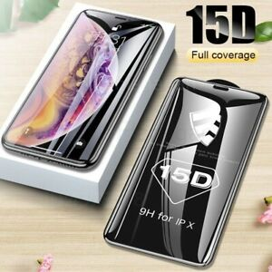 For iPhone 11 XS Max XR XS Full Cover Tempered Glass Screen Protective Film 15D
