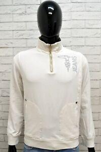 Felpa-Maglione-Pullover-Bianco-Uomo-TRUSSARDI-Taglia-M-Cardigan-Man-Maglia-Shirt