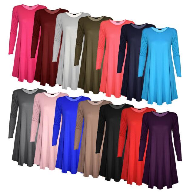 New Womens Plain Tartan Long Sleeve Swing Stretchy Flared Skater Dress Plus Size