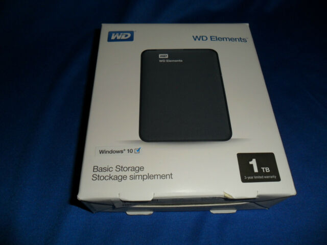 WESTERN DIGITAL ELEMENTS 1TB -  USB 3.0 & 2.0 BLACK -  PORTABLE HARD DRIVE