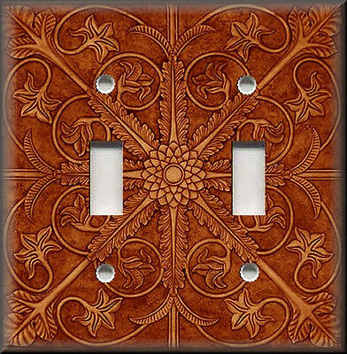 Light Switch Plate Cover - Tuscan Tile Pattern - Copper Orange - Kitchen Decor