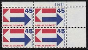 Album Treasures U S Scott # E22  45c Special Delivery Stamp Plate Block of 4 MNH