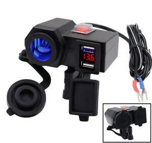 12V LED Dual Motorcycle USB Charger Power Adapter Voltmeter Waterproof 2 Bracket