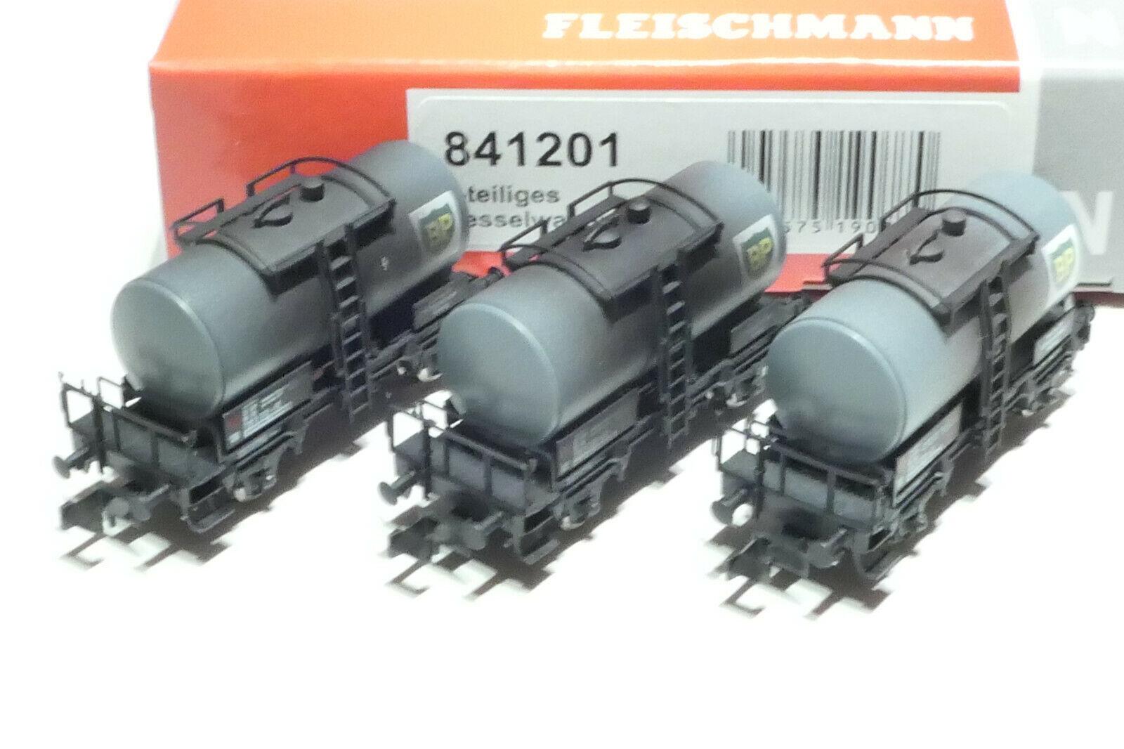 Fleischmann n DB 3 parte. set 2 alineación. vagones gris envejecido 841201 nuevo embalaje original