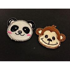Cheeky Monkey Happy Panda Cute Animals Iron On Craft Motif Stylish Patch