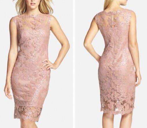 Tadashi Shoji Sequin Illusion Lace Sleeveless Dress Antique Pink Size 6