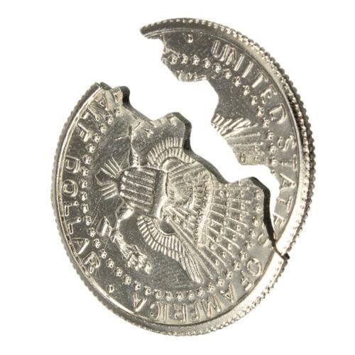 Magic Close-Up Street Trick Bite Coin Bite And Restored Half Dollar illusion LQ