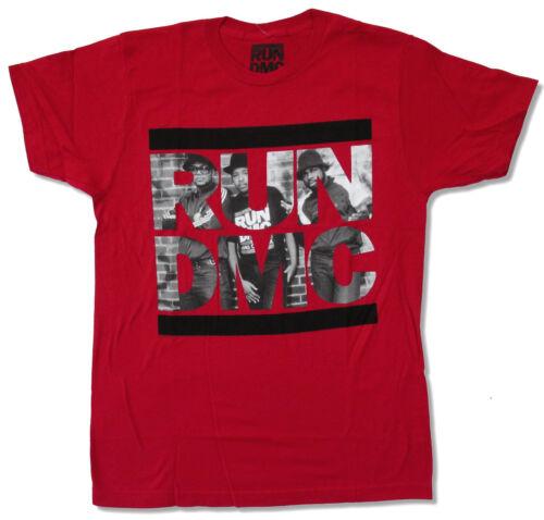 Run DMC Brick Wall Portrait Logo Red T Shirt New Official Rap Hip Hop