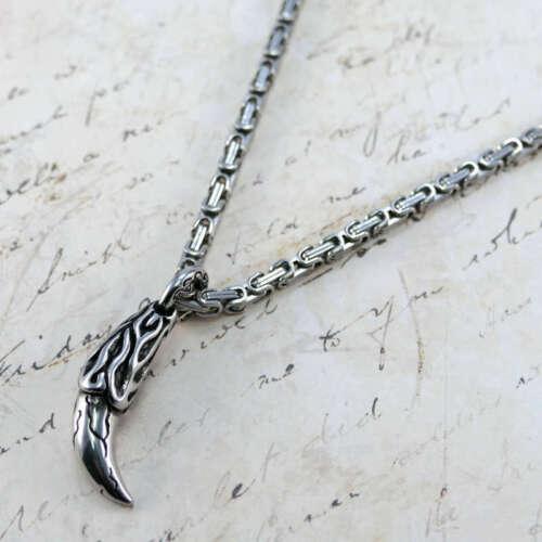 Silberfarbe 60cmx5mm Edelstahl  Halskette Wolf Zahn-AnhängerKönigskette