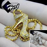 925 Sterling Silver Gold/silver 18-30x2mm Moon Cut Bead Chain Shoe Pendantp161
