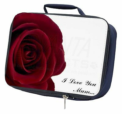 Generoso Red Rose 'i Love You Mum' Navy Insulated School Lunch Box Bag, Mum-r1lbn