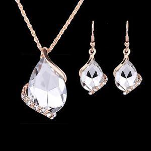 New-Fashion-Women-Rhinestone-Crystal-Pendant-Necklace-Chain-Earrings-Jewelry-Set