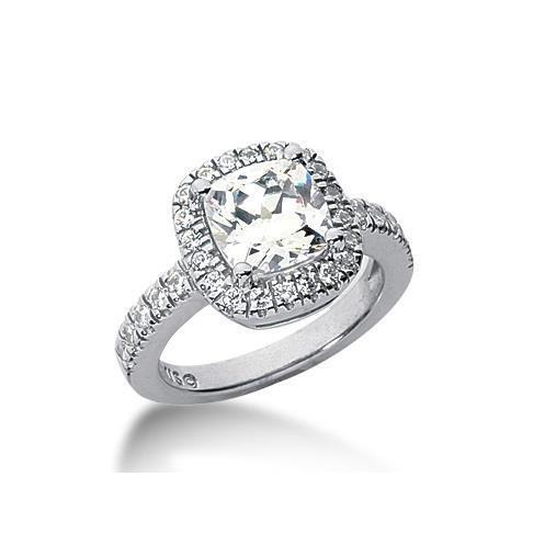 14k White gold 0.50ct Brilliant Cushion EX Cut Diamond Engagement Ring, Jewelry