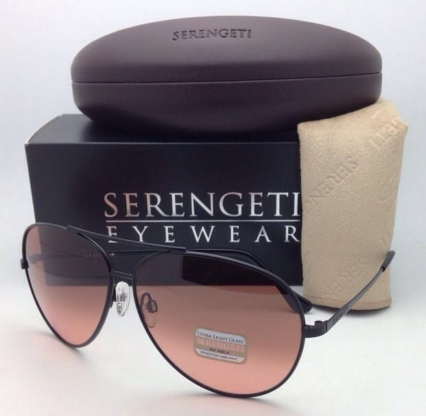 SERENGETI Sunglasses Large Aviator 5222 Black Frames PHOTOCHROMIC Drivers Lenses