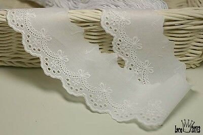 """5Yds Embroidery scalloped cotton eyelet lace trim 2"""" YH877 laceking2013"""