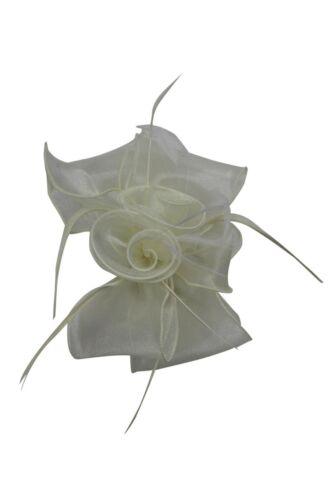 Estilo de pluma de Flores Boda Sombrero Fascinator de la Diadema Clip Royal Ascot Carreras Baile de graduación