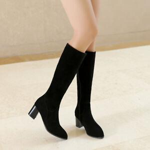 Women-039-s-Faux-Suede-Zip-Block-Mid-Heel-Knee-High-Boots-Shoes-AU-Plus-Size-2-11