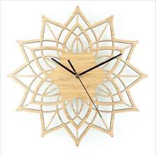 Creative Bamboo Quartz Clocks Noiseless Wooden Lotus Flower Wall Clock
