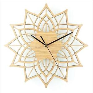 Creative Bamboo Quartz Clocks Noiseless Wooden Lotus Flower Wall