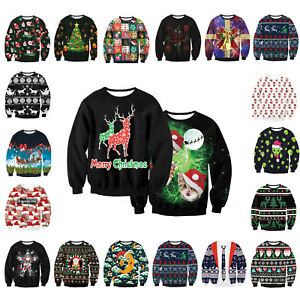 Red-UGLY-XMAS-CHRISTMAS-SWEATER-Vacation-Santa-Elf-Novelly-Women-Men-Sweatshirt