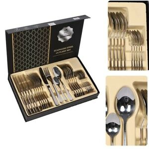 Stainless-Steel-Flatware-Set-Service-for-4-Kitchen-Cutlery-24-Pc-For-4-6-Utensil