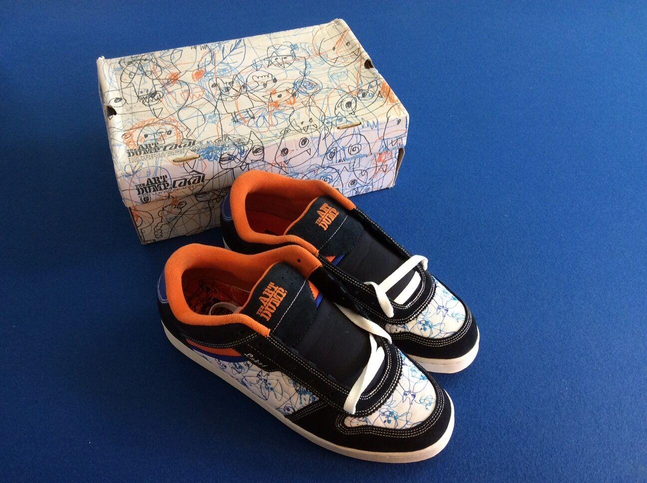 The Art Dump men's athletic shoes, black white bluee & orange inside, Size 13,New