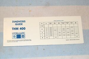 Gm Hydra Matic Automatic Transmission Thm400 Diagnosis Guide With Slide Chart Ebay