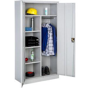 Armoire de rangement metallique placard 2 porte meuble de bureau 180x90x40cm ebay - Porte placard pliante metallique ...