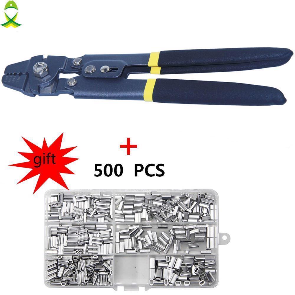 Kit de Herramientas de Alicates de pesca acero arrugador Terminal Crimping Manga Tubo afrontar nuevos