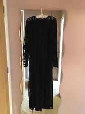 BNWT Miss Selfridge Black Lace Mesh Embroidered Maxi Dress 10 rare!