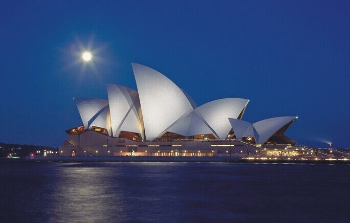 3D Sydney Moon Night Wall Paper Wall Print Decal Wall Deco Indoor wall Murals
