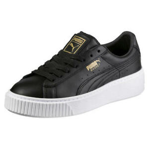 Puma Basket Platform Womens Ladies Black White Gold Trainers Shoes ... bafad90b1b9